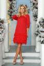 Коктейльное платье футляр красного цвета 2466.47 No1|интернет-магазин vvlen.com