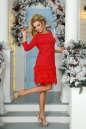 Коктейльное платье футляр красного цвета 2466.47 No2|интернет-магазин vvlen.com