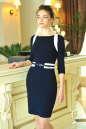 Офисное платье футляр синего в горох цвета No0|интернет-магазин vvlen.com