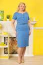 Летнее платье футляр голубого с белым цвета|интернет-магазин vvlen.com