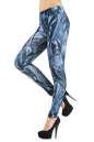 Женские лосины голубого с белым цвета No1|интернет-магазин vvlen.com