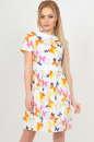 Летнее платье с пышной юбкой белого с оранжевым цвета|интернет-магазин vvlen.com