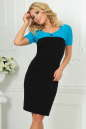Офисное платье футляр черного с бирюзой цвета 1842-1.47 No0|интернет-магазин vvlen.com