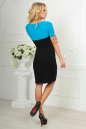Офисное платье футляр черного с бирюзой цвета 1842-1.47 No2|интернет-магазин vvlen.com