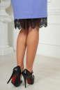 Коктейльное платье футляр сиреневого с черным цвета No4|интернет-магазин vvlen.com