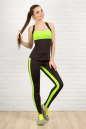 Лосины для фитнеса черного с зеленым цвета 2310-1.67 No1|интернет-магазин vvlen.com