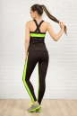 Лосины для фитнеса черного с зеленым цвета 2310-1.67 No3|интернет-магазин vvlen.com