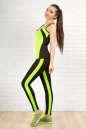 Лосины для фитнеса черного с зеленым цвета 2310-1.67 No5|интернет-магазин vvlen.com
