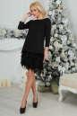 Коктейльное платье футляр черного цвета No1|интернет-магазин vvlen.com