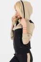 Спортивная кофта черного с бежевым цвета 164 No1|интернет-магазин vvlen.com