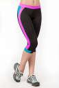 Лосины для фитнеса черного с розовым цвета No1|интернет-магазин vvlen.com