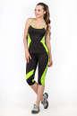 Бриджи для фитнеса черного с зеленым цвета 2362.67 No4|интернет-магазин vvlen.com