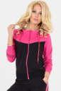 Спортивная кофта черного с розовым цвета|интернет-магазин vvlen.com