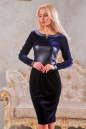 Коктейльное платье футляр синего цвета 2416.26 No0|интернет-магазин vvlen.com