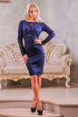 Коктейльное платье футляр синего цвета 2421.47 No2|интернет-магазин vvlen.com
