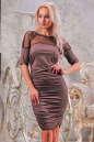 Коктейльное платье футляр капучино цвета 2437-1.86 No0|интернет-магазин vvlen.com