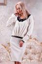 Коктейльное платье футляр молочного цвета No0|интернет-магазин vvlen.com