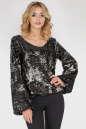 Блуза  черного с серебром цвета 412.113|интернет-магазин vvlen.com