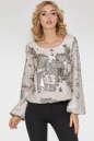 Блуза  молочного с серебром цвета 412.113 No1|интернет-магазин vvlen.com