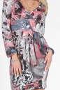 Повседневное платье с юбкой тюльпан серого с розовым цвета 1728.33 No2|интернет-магазин vvlen.com
