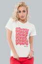 Женская футболка молочного цвета с принтом в цветочек No0|интернет-магазин vvlen.com