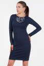 Офисное платье футляр синего в горох цвета|интернет-магазин vvlen.com