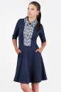 Офисное платье с расклешённой юбкой синего в горох цвета|интернет-магазин vvlen.com