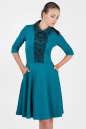 Офисное платье с расклешённой юбкой морской волны цвета|интернет-магазин vvlen.com