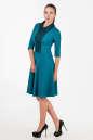 Офисное платье с расклешённой юбкой морской волны цвета 1803.85 No2|интернет-магазин vvlen.com