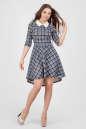 Повседневное платье с расклешённой юбкой синего с белым цвета No0|интернет-магазин vvlen.com