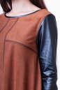 Повседневное платье футляр светло-коричневого цвета No4|интернет-магазин vvlen.com