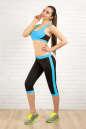 Бриджи для фитнеса черного с голубым цвета 2313.67 No3|интернет-магазин vvlen.com