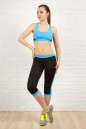 Бриджи для фитнеса черного с голубым цвета 2313.67 No4|интернет-магазин vvlen.com