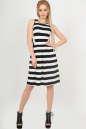 Летнее платье с пышной юбкой полоски черной цвета No1|интернет-магазин vvlen.com