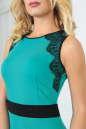 Коктейльное платье футляр мятного с черным цвета 1852-1.47 No4|интернет-магазин vvlen.com