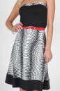 Летнее платье с расклешённой юбкой черного с белым цвета 768.17 No1|интернет-магазин vvlen.com