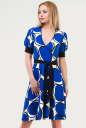 Летнее платье с расклешённой юбкой синего тона цвета 611.17 No0|интернет-магазин vvlen.com
