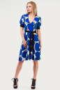 Летнее платье с расклешённой юбкой синего тона цвета 611.17 No1|интернет-магазин vvlen.com