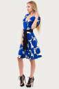 Летнее платье с расклешённой юбкой синего тона цвета 611.17 No2|интернет-магазин vvlen.com