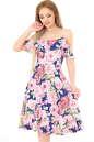 Летнее платье с расклешённой юбкой синего с розовым цвета 2562.84 No0|интернет-магазин vvlen.com