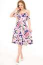 Летнее платье с расклешённой юбкой синего с розовым цвета No1|интернет-магазин vvlen.com