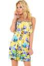 Летнее платье с пышной юбкой желтого с фиолетовым цвета 2568.5 No0|интернет-магазин vvlen.com