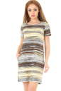 Летнее платье трапеция коричнево-желтого тона цвета|интернет-магазин vvlen.com
