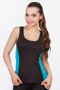 Майка для фитнеса черного с голубым цвета No0|интернет-магазин vvlen.com