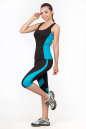 Майка для фитнеса черного с голубым цвета No4|интернет-магазин vvlen.com