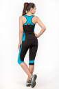 Майка для фитнеса черного с голубым цвета No5|интернет-магазин vvlen.com