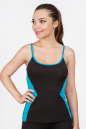 Майка для фитнеса черного с голубым цвета 2357.67 No0|интернет-магазин vvlen.com