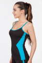 Майка для фитнеса черного с голубым цвета No1|интернет-магазин vvlen.com