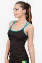Майка для фитнеса черного с голубым цвета 2356.67 No1|интернет-магазин vvlen.com