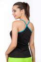 Майка для фитнеса черного с голубым цвета 2355.67 No1|интернет-магазин vvlen.com